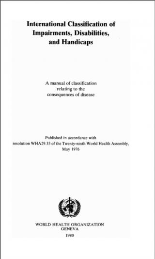 """International classification of impairments, disabilities, and handicaps"" cover image"