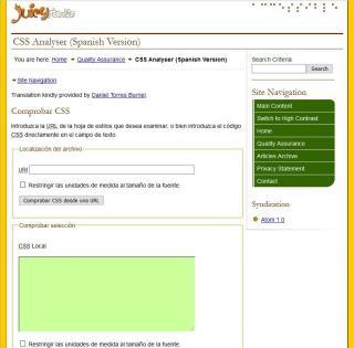 Imagen de la interfaz de CSS Analyser