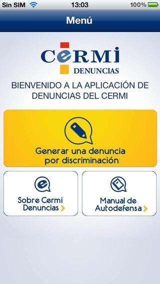 Imagen de la interfaz de CERMI–Denuncia por discriminación
