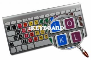 Imagen de las pegatinas de colores con caracteres magnificados