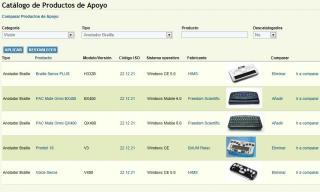Imagen de la página del catálogo de productos