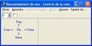 Imagen de la ventana de control de Control de la rata per veu