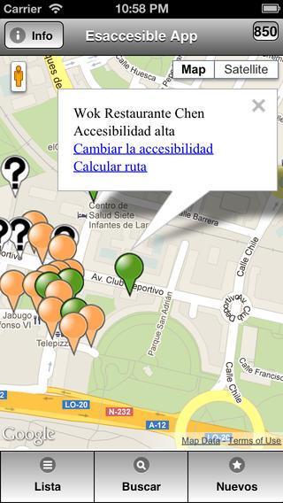 Imagen de la interfaz de EsAccesible App