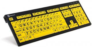 Imagen del teclado XL Print NERO PC Slim Line Black on Yellow Keyboard