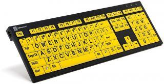 XL Print NERO PC Slim Line Black on Yellow Keyboard image