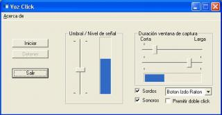 Imagen de la ventana de configuración de VozClick