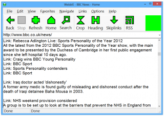 WebbIE interface image
