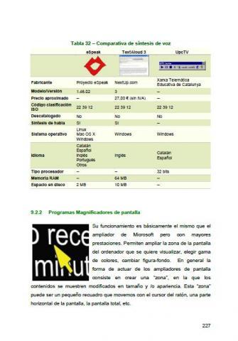 Imagen de una página del documento sobre magnificadores de pantalla