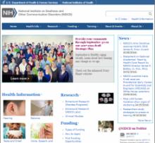 Imagen de la página web del Instituto Nacional de la Sordera y Otros Trastornos de la Comunicación