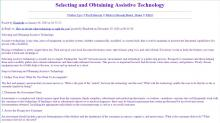 Selecting and Obtaining Assistive Technology article website